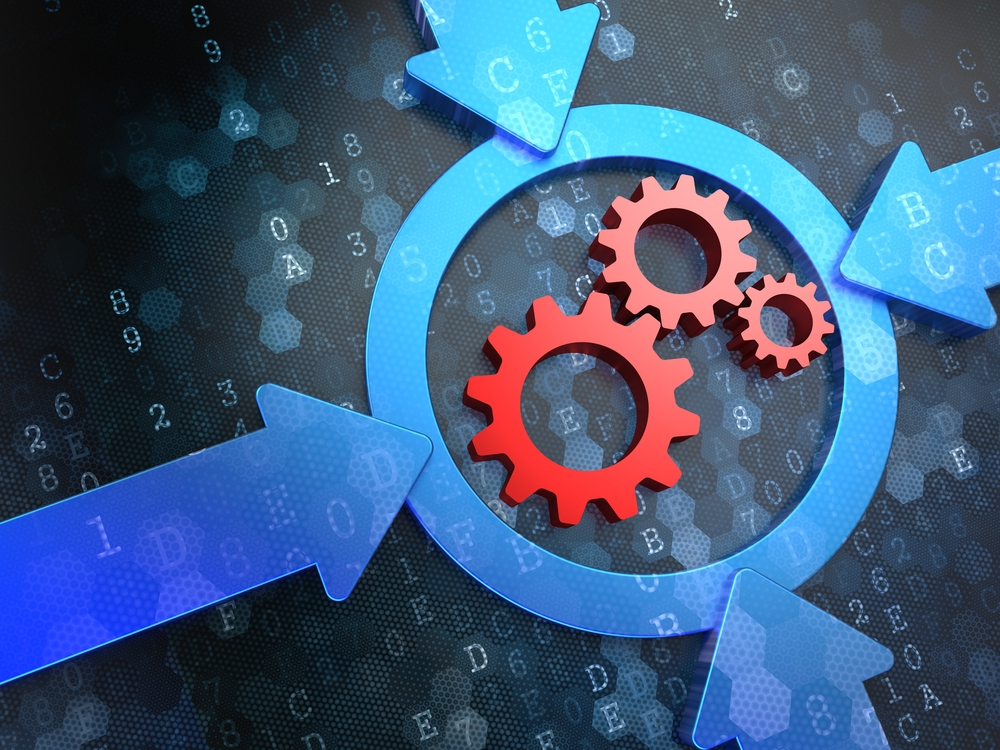 Cogwheel Gear Mechanism Icon Inside the Target on Digital Background. Business Concept of how to spot opportunities