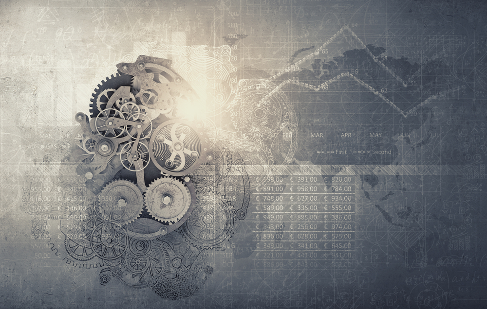 Cogwheels and gears mechanism on digital business background, key differences between mongodb and mysql databases