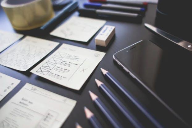 Paper, pen, smartphone
