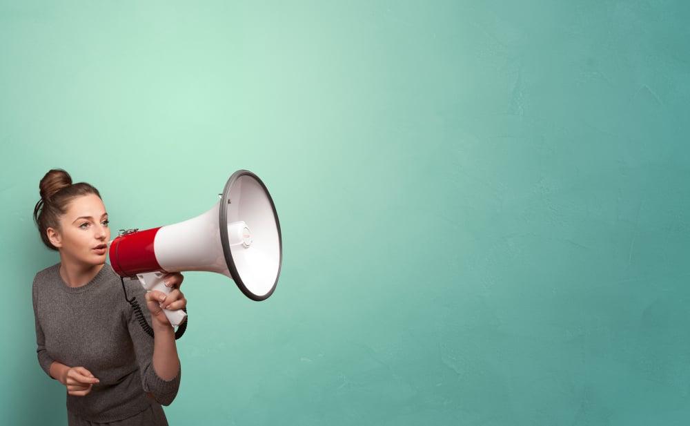 Person speaking in loudspeaker concept, concept of digital marketing
