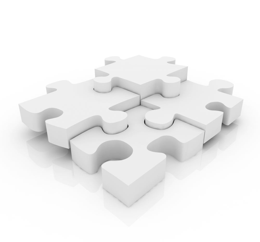 Pieces of a jigsaw puzzle isolated over a white background, as a concept of elements of an innovation team