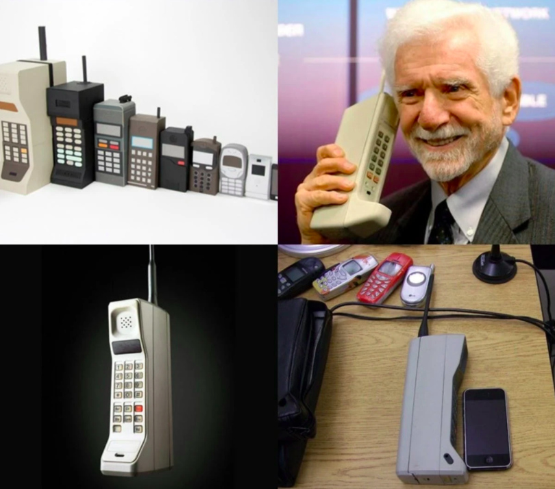 old man talking at old phone, as a concept of smartphone history