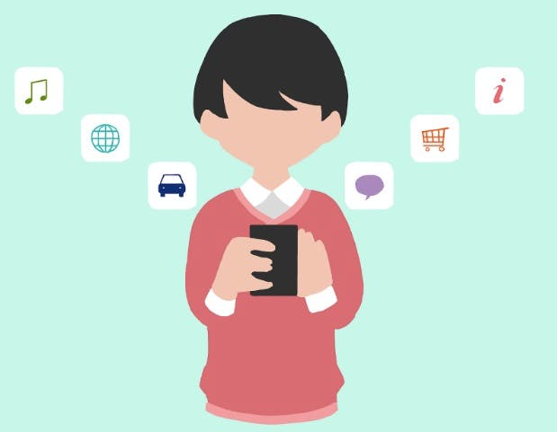 Graphics of boy looking to his smart phone and digital symbols in the background as a concept of mobile app startups