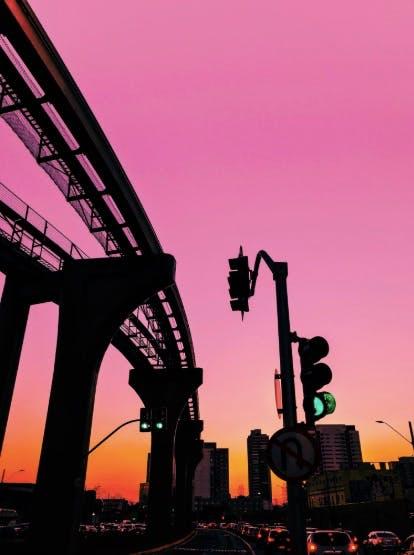 A bridge in the dusk's pink light