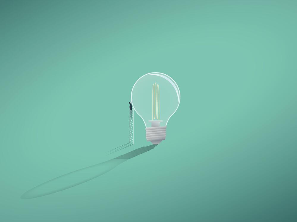 vectorial image of a light bulb and a man on turquoise, as a concept of innovation