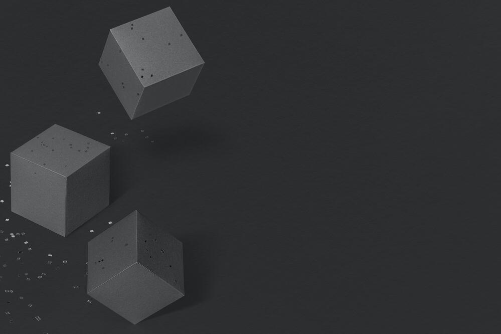 abstract image of three cubes, as a concept of scrum team roles