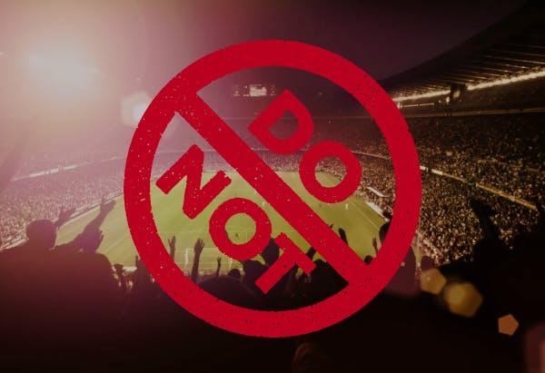 """Super Bowl stadium, an a """"Do Not"""" sign"""
