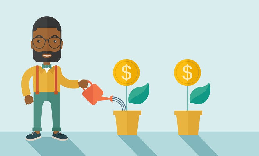 Graphics of man soaking dollars conceptualized as flowers, raising money concept