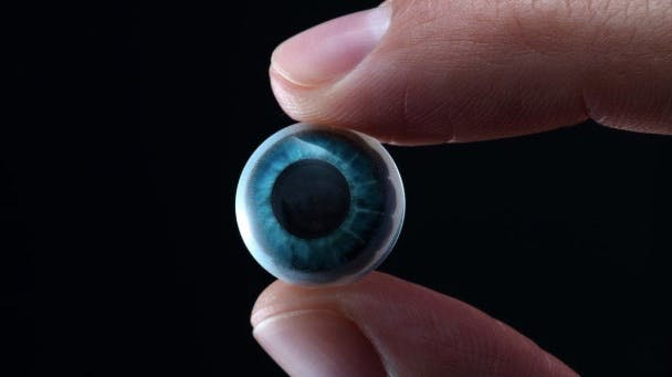 close-up image of person holding colored contact lens