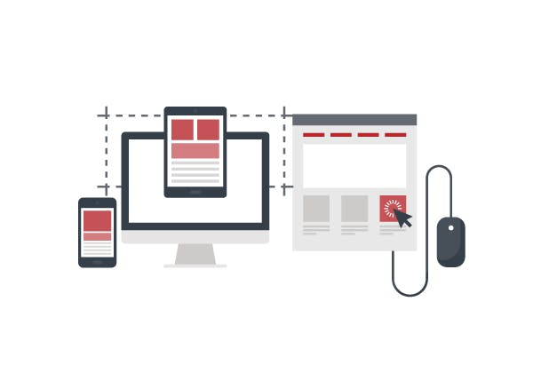 Connectivity concept. Vectorial image of an iPhone communicating with a monitor, an iPad, and a mouse