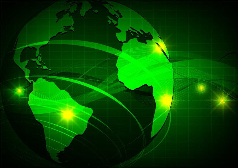 earth, green wave abstract vector background, technology concept, earth map element furnished by nasa