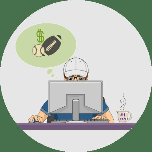 Graphics of a super bowl fan in front of his desktop, and super bowl symbols