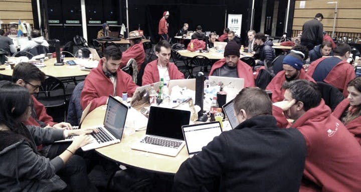Andrew Greenstein and his developers team at the Techrunch Disrupt Hackathon 2016