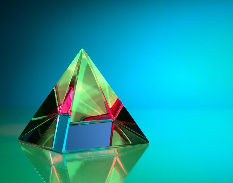 translucent pyramid, as a concept of what is federated learning
