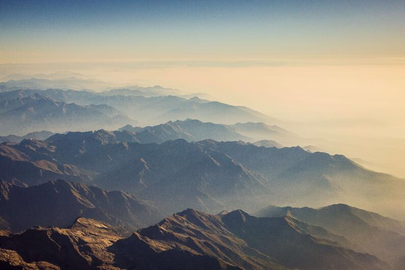 mountains under light, as a concept of new product vitality index