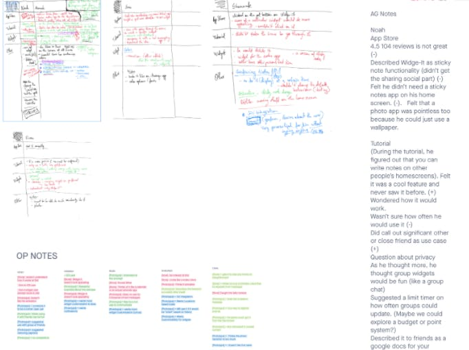 notes from user interviews, as part of one-week design sprint