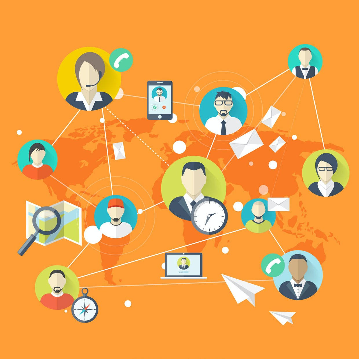 Vectorial image of people and devices, on a orange background displaying the world map. Connectivity concept