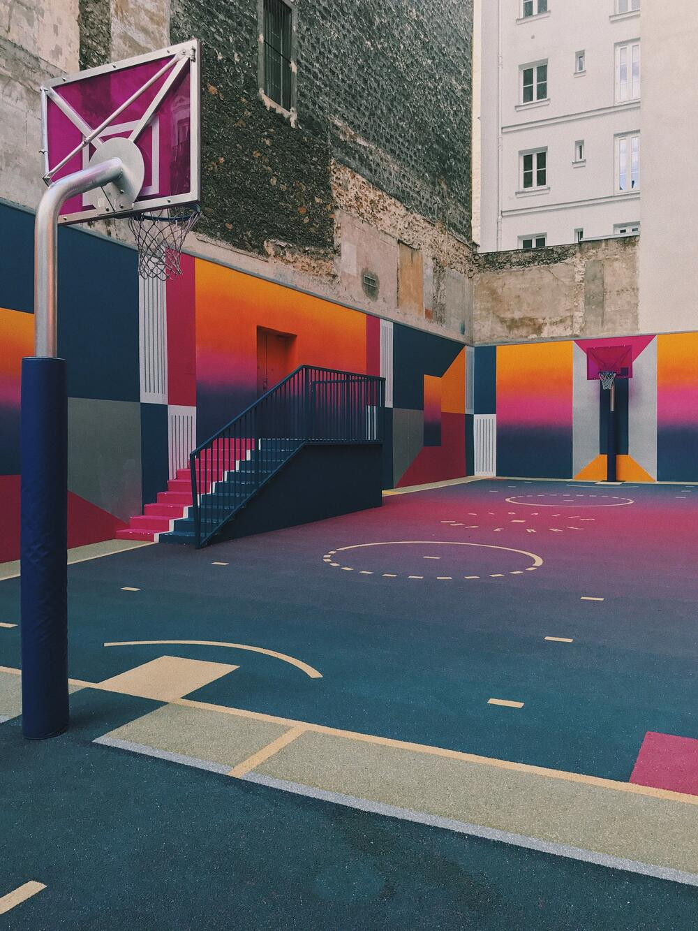 colorful basketball playground, as concept of design thinking