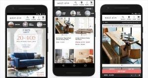 West Elm's Progressive Web App screenshots