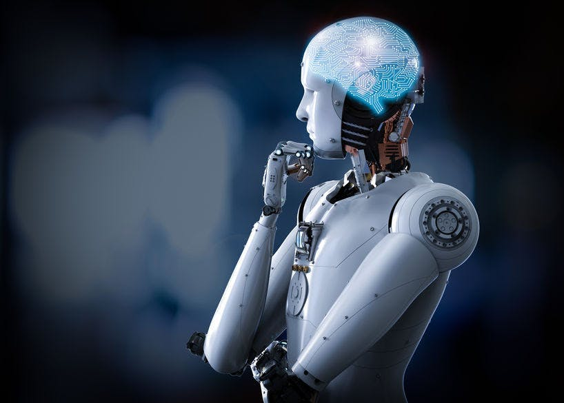 a robot in a thinking posture, with a dark blue background. Concept of artificial intelligence.