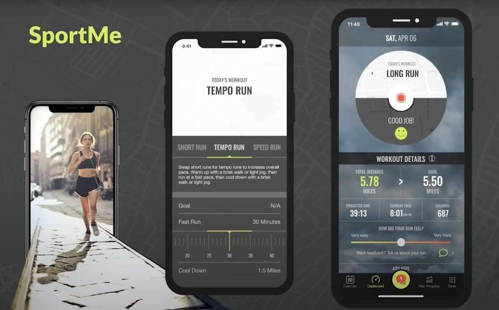 5 app designs: sportme app screenshots