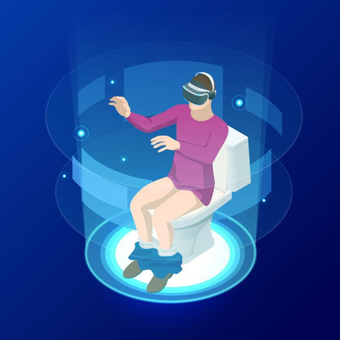 Graphics of man with vr headset, sitting on the toilet