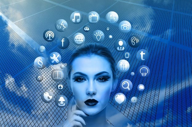 image of woman's head surrounded by mobile app icons, angular and react dillema